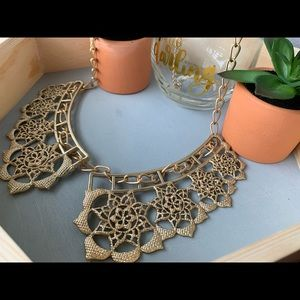 Gold Fashion Statement Collar Necklace